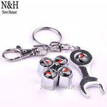 4pcs/set Car Styling Stainless Steel Wheel Tire Valve Stems Caps For TOYOTA TRD Logo HighLander Prado Emblem With Mini Wrench