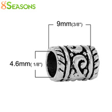 8SEASONS 50PCs Zinc Based Alloy Ornate Carved Tube Spacers Beads For Jewelry Making Jewelry Accessories 6*8mm (B00790)(China)
