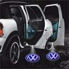 2pcs/pair Wireless Car Door Welcome Light Logo No Drill Type Badge Lights LED Laser Ghost Shadow Projector Lamp for Volkswagen(China)