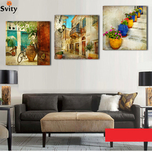 Free shipping 3 panels oil canvas paintings gardening Home decoration wall art canvas painting decorative wall pictures(China)