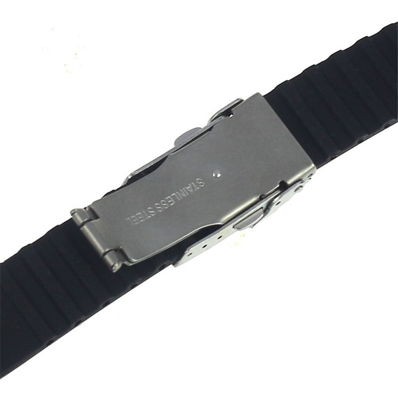 NEW Fashion watch band 18mm, 20mm, 22mm, 24mm Silicone Rubber Watch Strap Band Deployment Buckle Waterproof #M01 (4)