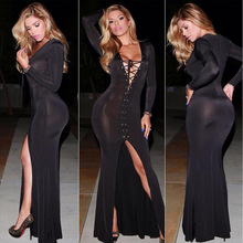 2016 New Hot Sexy Queen Night Club Vestido Longo Dress Deep V Lace-Up Ribbons Open Front Slim Hip Bandage Maxi Dress Bodysuit