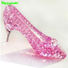 Happyxuan  DIY 3D Jigsaw Crystal Puzzle Cinderella's Shoe Plastic Home Decoration Birthday Gift for Children