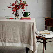 Two Tone 100% Pure Linen Table Cloth Tablecloths Universal Dust Cover Coffee Table Towel Customer Tablecloth