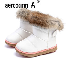 aercourm A Winter Girls Snow Boots Children Warm Plush Soft Bottom Boots Leather Winter Snow Boots Baby Toddler Shoes Red 21-30(China)