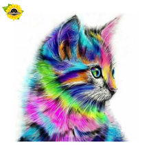 Colorful Cat 2017 New  5D DIY Diamond Painting Rainbow cat kitty diamond mosaic  Looking Needlework Home Decorataive Wall Decor