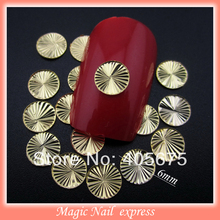 MNS218 gold metal crushed round 6MM nail studs 3D nail art decoration slices nail sticker supplies wholesale 100pcs