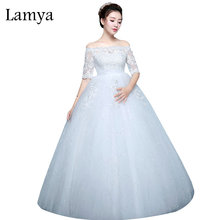 Lamya Pregnant Fashion Simple Dot Famous Brand Wedding Dresses Tulle Lace Ball Gown Bridal Gown Cheap Plus Size robe de mariee(China)