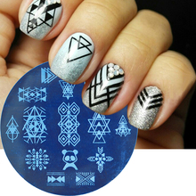 1pc 2018 NEW Round Geometry Triangle/Flower Lace Nail Stamping Plates Stamp Templates Manicure Nail Art Image Plate LASTZ101-130(China)