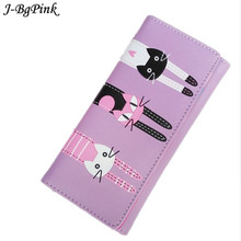 J-Bg Pink New 2017 Women Cute Cat Cartoon Wallet Long Creative Card Holder Casual Ladies Clutch PU Leather Coin Purse