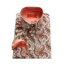 white with printed red paisley floral silk/cotton dress shirt,male custom tailor made casual fashion bespoke blouse