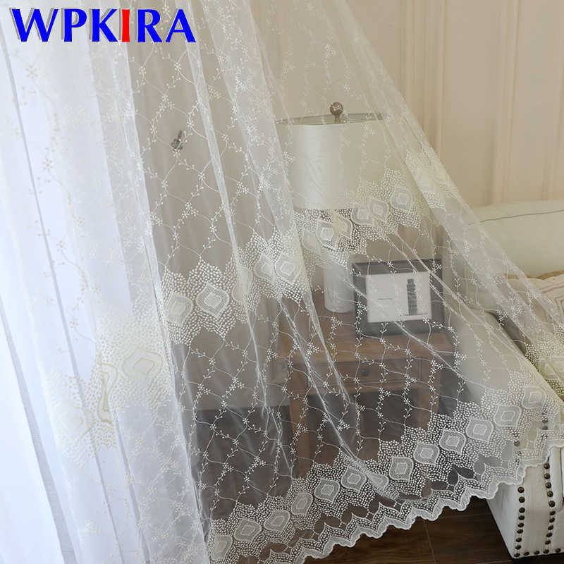 New European Rhombic Lace Embroidered White Curtain For Living Room Bedroom Sheer Voile Window Panel Wild Tulle Customize M091D3