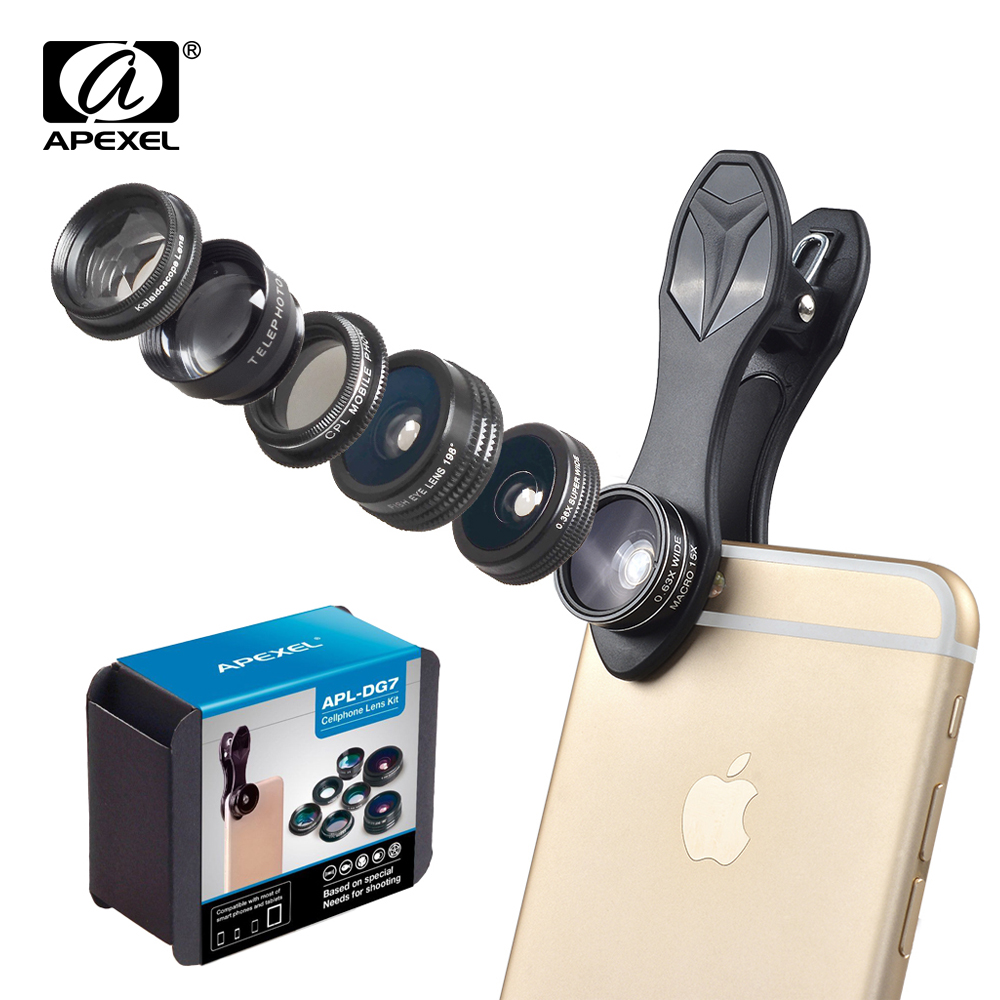 APEXEL Phone Camera Lens Kit Fish Eye Wide Angle/macro Lens CPL Kaleidoscope and 2X telephoto zoom Lens 7in1 for iPhone SAMSUNG 15