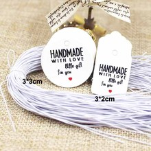 3*3cm various kraft/white DIY handmade gift hang tags paper products price label tag 100pcs+100 elastic string per lot(China)