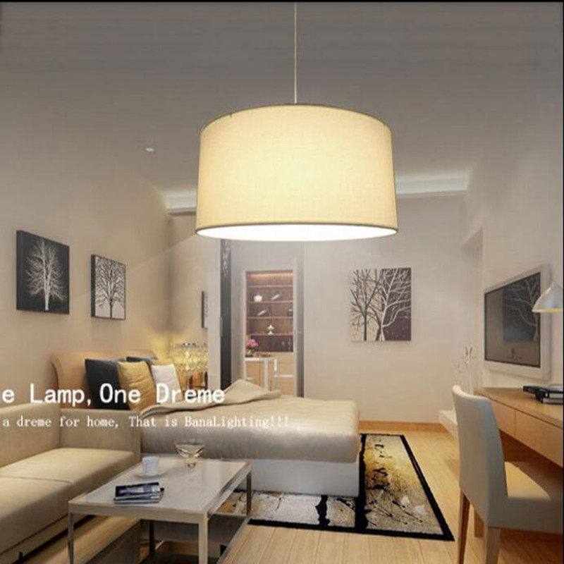 simple lamp pendant lights diameter 25cm Cloth white lampshade Bedroom Dining room LED light fixture<br>