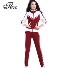 TLZC Patchwork Style Women Casual Suits Size L-5XL Zipper Fly Lady Tracksuits Mandarin Collar Lady Popular Sportswear