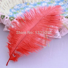 10PCS / red natural ostrich feather fan manufacturing 15-20CM6-8 inch new Christmas Halloween Party(China)