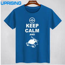 2017 new Fashion Classic Style Keep Calm And Carry On Snorlax Sleep On Pokemon T Shirt Casual Music Rock N Roll Band T Shirt(China)