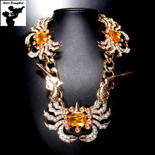 Women Crab West Cowboy Punk Choker Necklace Sexy Double Revolver Gothic Gun Thick Gold Chain Big Crystal Necklace Jewelry 2017(China)