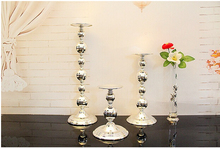 Silver iron metal cylinder candle holder set pillar candle stand candlestick for home candle holders wedding decoration 2202B