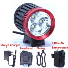 3T6 LED Bicycle Light 3 XM-L T6 3800Lm bike light 4 Mode Super Bright Bike Front Light + 6*18650 Battery Pack + Charger