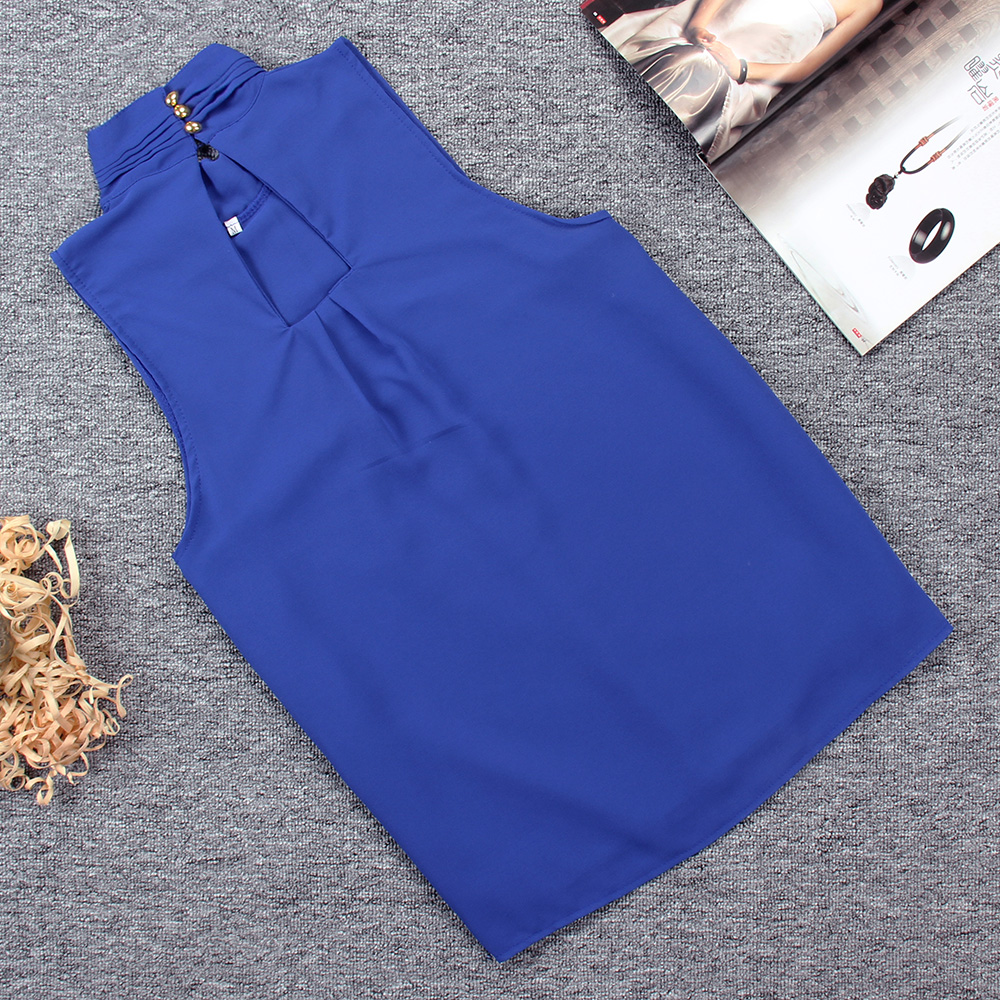 Women Chiffon Back Hollow Blouses Fashion 2017 New Beach Summer Sleeveless Tops Elegant Pleated Blusas Femininos Plus Size M0173 18