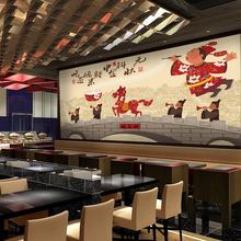 Free Shipping Ancient Chinese architecture wallpaper hand-painted cartoon spicy noodle Hot pot noodle shop barbecue murals