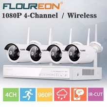 Floureon 4CH Wireless CCTV Kit 1080P DVR NVR 4 Outdoor Security Wifi 960P IP Camera Home Surveillance Video Recorder NVR System