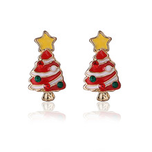 1Pair New Fashionable Retro Design Alloy Lovely Christmas Tree Earrings Decoration Wholesale Christmas Ornaments Navidad 2017@GH