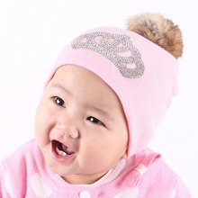 girl boy baby fashion knitted winter hat cap rhinestone crown kids beanies colorful cotton real animal fur ball crochet gorros(China)