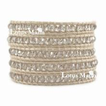 Lotus mann Crystal Satin Wrap Bracelet on Pearl Leather(China)