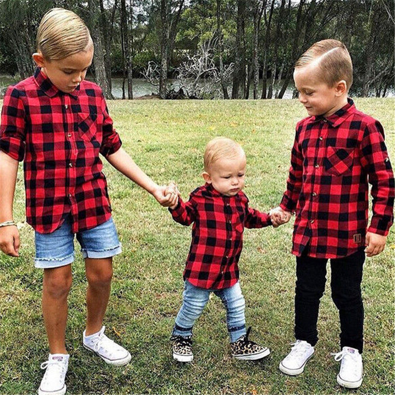 Baby Kids Children Boys Girls Blouse Long Sleeve Button Povket Shirt Red Plaids Checks Tops Blouse Clothes Outfit<br><br>Aliexpress