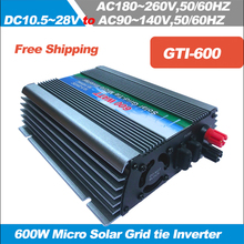 Free Shipping!! 600W MPPT Micro Grid Tie Solar inverter,Pure Sine Wave power inverter 10.5-28V DC input to AC110/220V,50/60HZ(China)