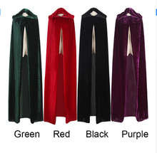 FREE SHIPPING Adult Witch Long Purple Green Red Black Halloween Cloaks Hood and Capes Halloween Costumes for Women Men(China)