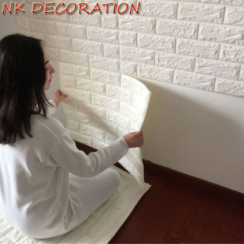 NK White 3D Modern Design Brick Wallpaper Roll XPE Foam Wall Covering Wall Paper Living Room Dinning Room Store Background(China)
