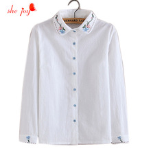 Spring New Cotton Women Blouse Embroidery White Shirts Turn Down Collar Long Sleeve Preppy Style Female Clothings Shirts