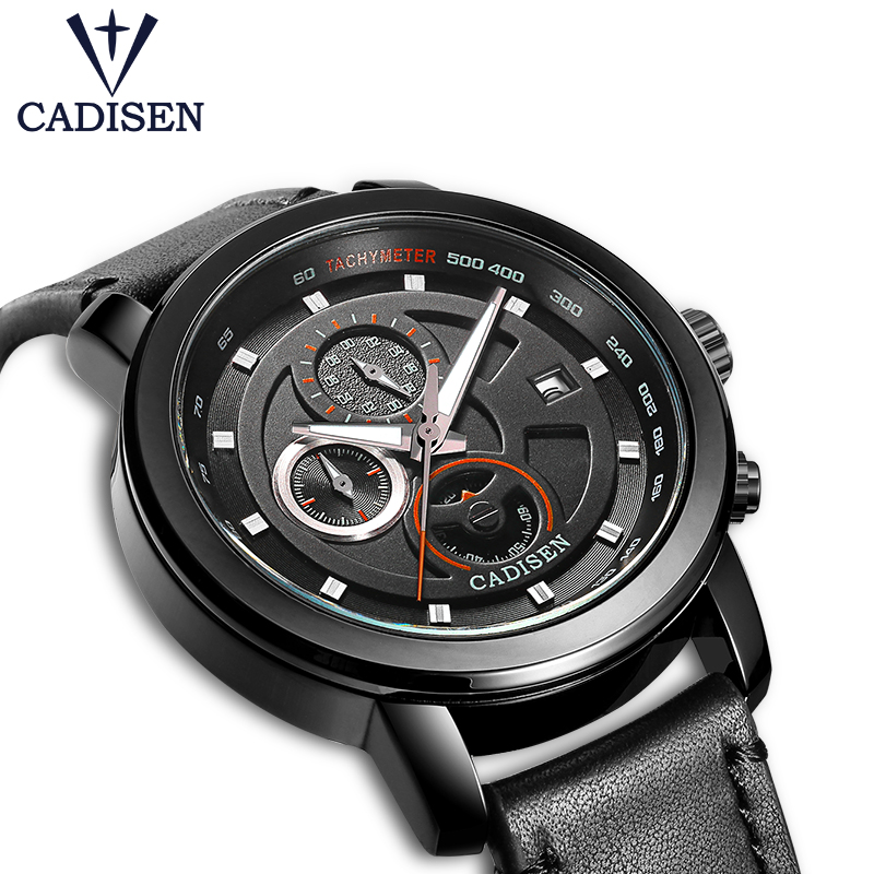 2017 New Cadisen casual Men watcher Chronograph sports Genuine leather military mens watches top brand luxury relogio masculino<br>