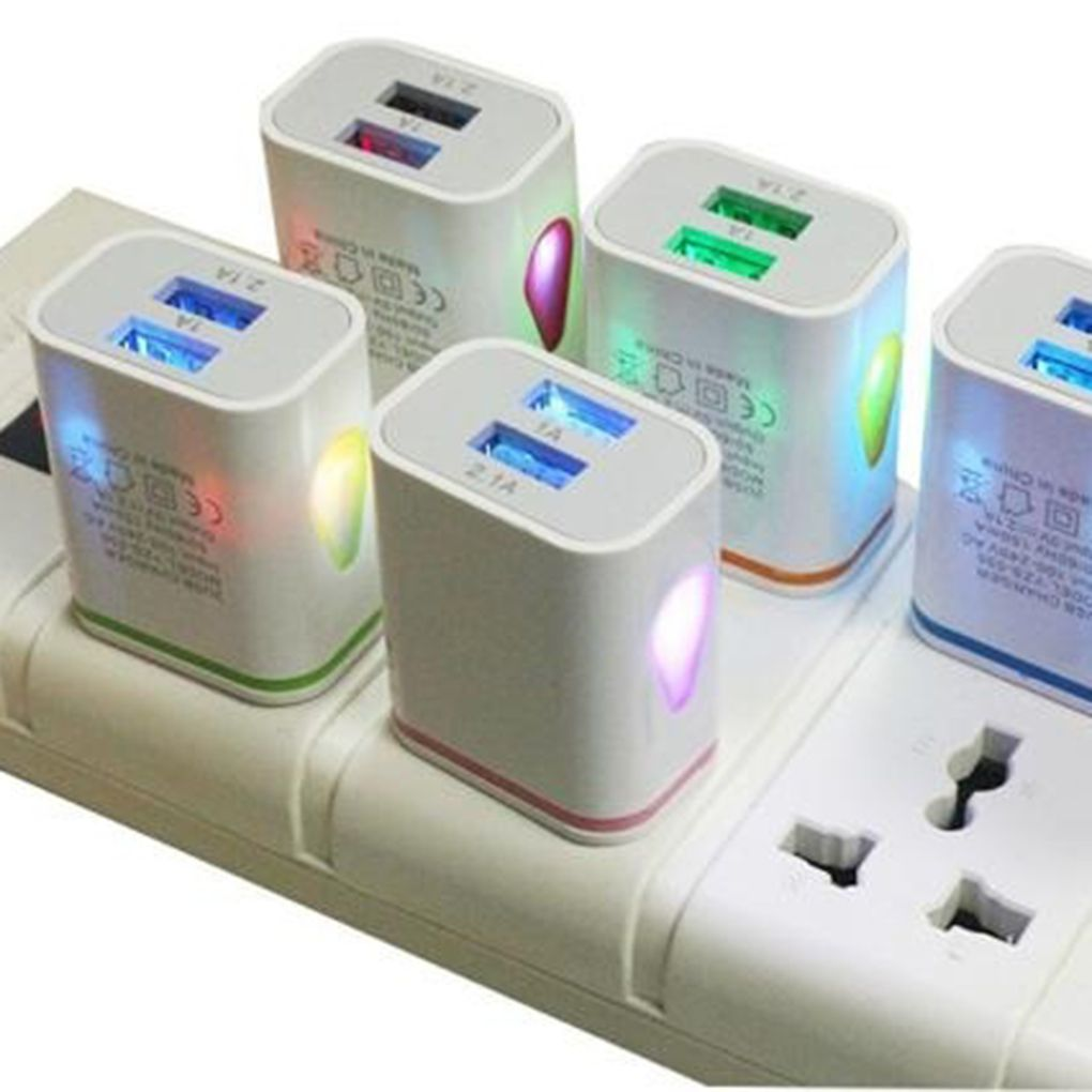 1PC Multi-colorful Power AC/DC Adapters 2 USB Port LED Light-emitting Charger 2.1A 5V Travel USB Charger For Phone Pad