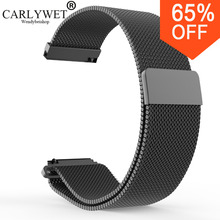 CARLYWET 16 18 20 22 23mm Silver Black Rose Gold Blue Mesh Milanese Loop Steel Bracelet Wrist Watch Band Strap Magnetic Closure(China)