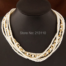 Imitation Pearl Necklace Jewelry  2016 Fashionable Luxury Pearl Jewellery Layer Pearl Choker Necklaces & pendants