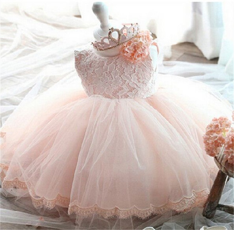 Fancy Girl Summer Lace Flower Bowknot Dresses Wedding Flower Girls Clothes for Baby Girls Chirstening Dress for Toddler 0-8 Year<br>