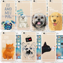 New Models Charming Lovely Cute Dogs Cat Butterfly Phone Case For iPhone 5 5s SE 6 6s Plus Soft Clear Silicon Back Skin Covers