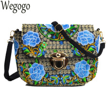 Vintage Women Bag Canvas Messenger Bag Ethnic Floral Embroidery Clutch Handbag Shoulder Bags Sac A Main Bolsas Femininas(China)