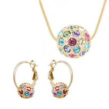 Free Shipping Gift Bags Wholesale czech Rhinestones 5 Colors ball pendant earrings necklace sweater chian Fashion Jewelry Set