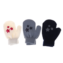 Fashion White, Blue, Gray Kids Dot Star Heart Pattern Mittens Soft Knitting Warm Gloves For Boys Girls(China)