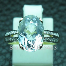 2.50CT SOLID 14K Yellow GOLD NATURAL AQUAMARINE . ENGAGEMENT RING