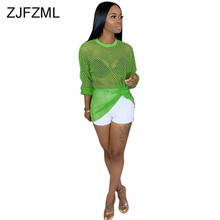 Sheer Mesh Fishnet Perspective T Shirt Women Sexy Long Sleeve Hollow Out  See Through Top Casual 307e93fd3e18