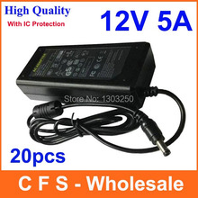 20pcs High Quality AC DC Adapter 12V 5A Power Supply 60W For LED Lights Strips Free shipping Lots wholesale(China)