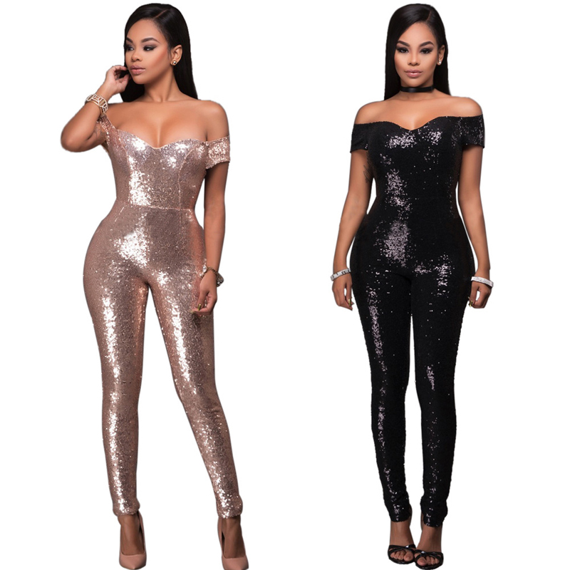 Sexy Off Shoulder Romper Women Sequins Long Jumpsuits Fashion Backless Outfits Rompers Womens Jumpsuit Bodycon Overalls Playsuit