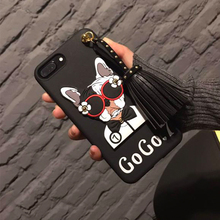 Italy Fashion Rivet Tassels Pendant Glasses Dog soft silicone phone Case For Apple iphone 7 Plus 5.5inch Protective cover